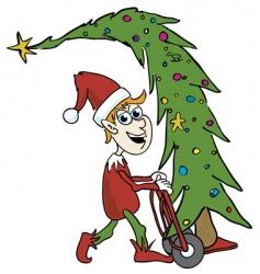 elf tree delivery vector image