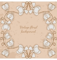 Decorative frame with flower vintage style vector image