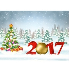 2017 Christmas card with ball vector image