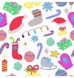 Winter christmas doodles seamless pattern vector