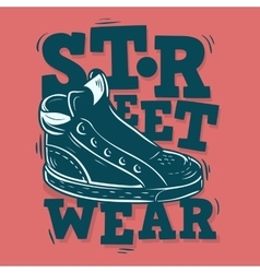 Street wear label design with a sneaker vector