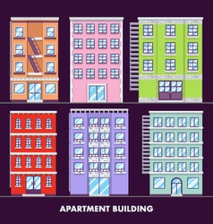 Apartment building flat design minimalist and full vector