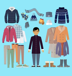 Boy in warm clothes stands in centre on blue vector