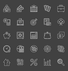 Investment and business outline icons vector