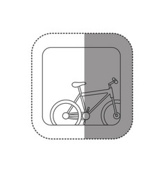 sticker square silhouette button with contour vector image