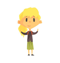 Calm blond girl with ponytail primary school kid vector