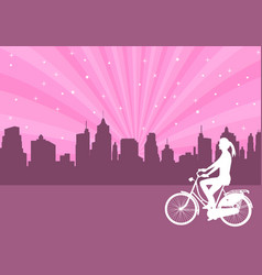 girl riding bicycle on the abstract city backgroun vector image