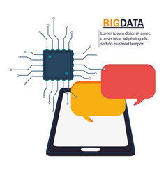 big data smartphone circuit bubble speech vector image