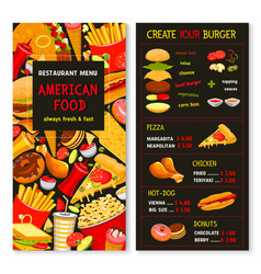 Menu for fast food meals and desserts vector
