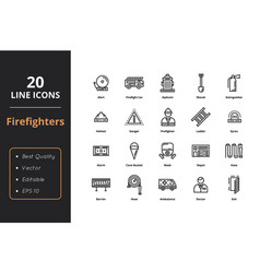 20 high quality firefights line icons vector image vector image