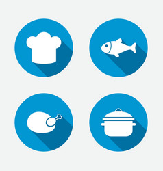 Chief hat cooking pan icons fish and chicken vector