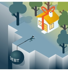 Businessman or consumer with debt weight is vector