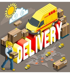 Isometric Flat Express Delivery Services 3d vector image