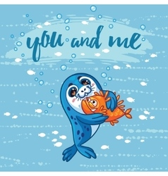 Cute card with cartoon baby seal who hugs a fish vector