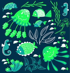 Cute cartoon fish jellyfish and seahorses vector image