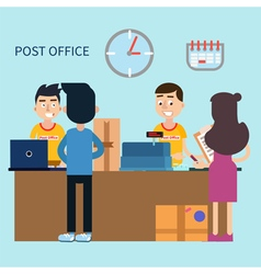 Post office woman receiving letter postal service vector