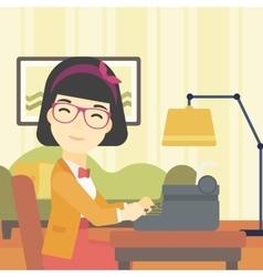 Reporter working at typewriter vector image