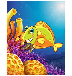 A smiling fish under the sea vector