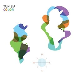 Abstract color map of tunisia vector
