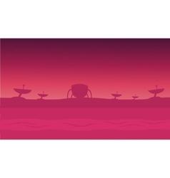 Alien spacecraft in fog silhouettes vector