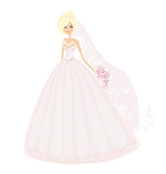 Beautiful blond bride with flowers vector