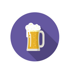big mug of golden beer isolated on a colored vector image vector image
