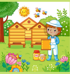 Boy collects honey vector