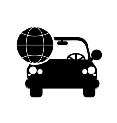 Car and earth globe diagram icon vector
