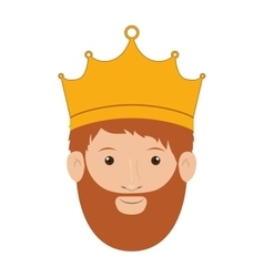 Colorful king head with crown and beard vector