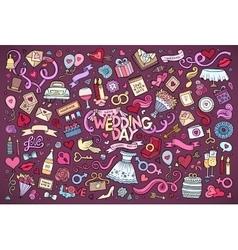 Colorful wedding doodle cartoon set of vector
