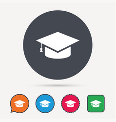 Education icon graduation cap sign vector