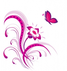 flower pattern with butterfly vector image