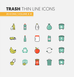 garbage waste recycling linear thin line icons vector image