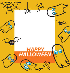 ghost flying flat design thin line halloween card vector image