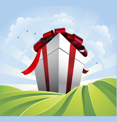 Giant gift in fields vector