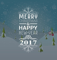 Greeting card or invitation Merry Christmas and vector image vector image