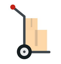 Hand cart with two cardboard boxes icon isolated vector