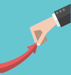 Hand pulling arrow upwards vector
