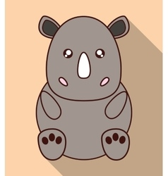 Kawaii rhino icon Cute animal graphic vector image