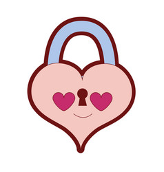 Line color heart padlock in love kawaii personage vector