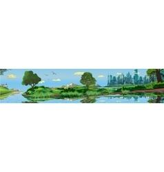 Panoramic landscape - metropolis lake river vector