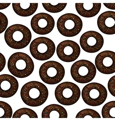 Pattern of chocolate donuts with sprinkles vector image
