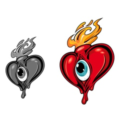 red heart with eye vector image