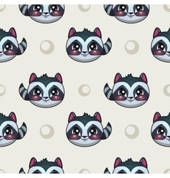 Seamless pattern with funny raccoon faces vector image