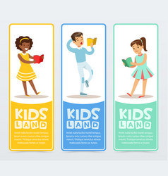 set of banners with teenagers reading books vector image