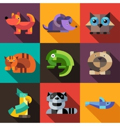 Set of flat design geometric animals icons vector image