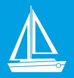 Small boat icon white vector