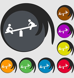 Swing icon sign symbol on eight colored buttons vector