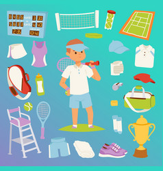 Tennis man character and icons sport vector