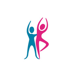 Color people couple dancing icon vector
